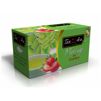 Moringa with Strawberry Single Chamber Tea Bags- With Envelope