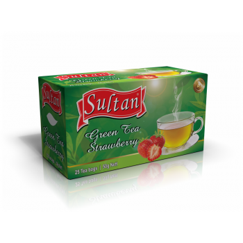 Strawberry Green Tea Single Chamber Tea Bags - With Envelop